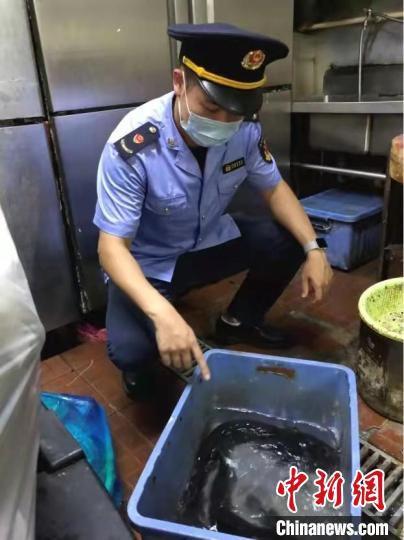虹口区市场监管局查处樟宏小吃店违法经营不合格水产品案。 上海市场监管局 摄