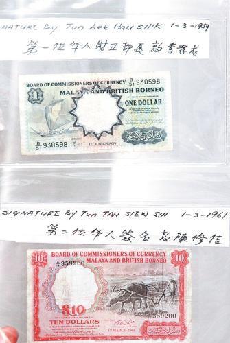 由第一任华人财长敦李孝式和第二任财长敦陈修信签名的1元面值及10元面值纸钞,十分珍贵。(图片来源:马来西亚《星洲日报》)