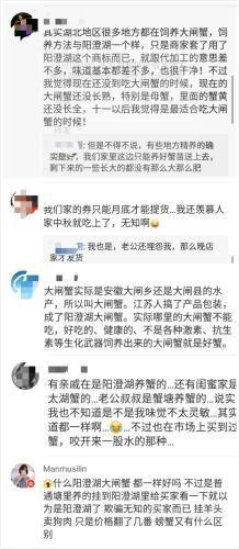 网友评价阳澄湖大闸蟹假货为患的现象。来源:网络截图