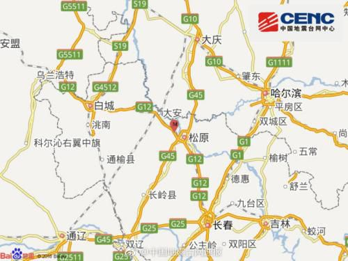 吉林前郭尔罗斯县发生4.2级地震震源深度10千米