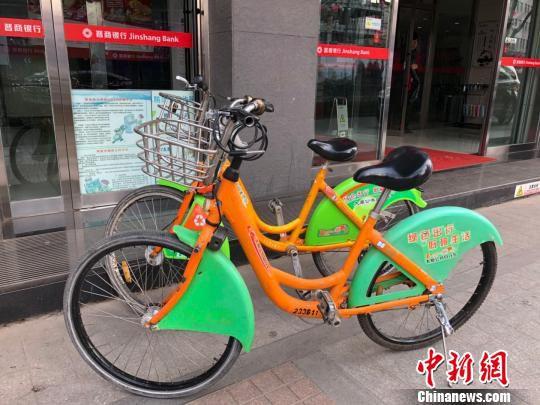 图为被停放在路边的公共自行车。 李庭耀 摄