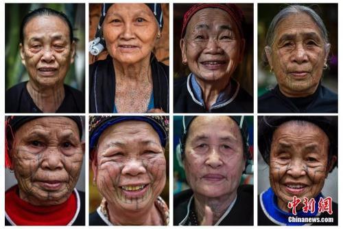 来自不同方言区的最后一代黎族绣面文身女子。 骆云飞 摄