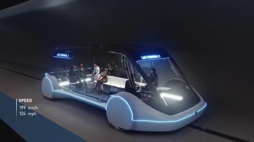 马斯克旗下公司所设计的「滑板式」隧道车,将成为芝加哥市区与奥黑尔机场的未来交通选项之一。(图片来源:Boring公司视频截图)