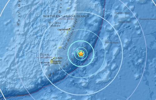 北马里亚纳群岛岛罗塔东南处海域发生6.0级地震,震源深度10公里。(图片来源:美国地质勘探局网站截图)
