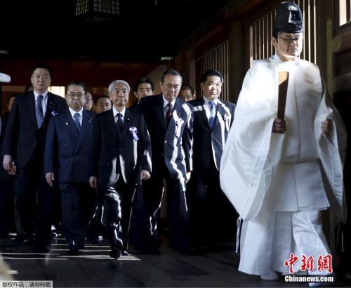 资料图:往年的靖国神社春季大祭,日本国会议员参拜靖国神社