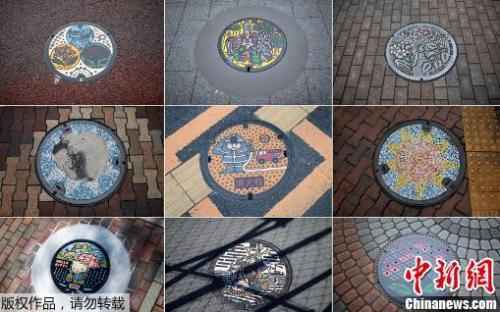 日本街道的下水道井盖多姿多彩。